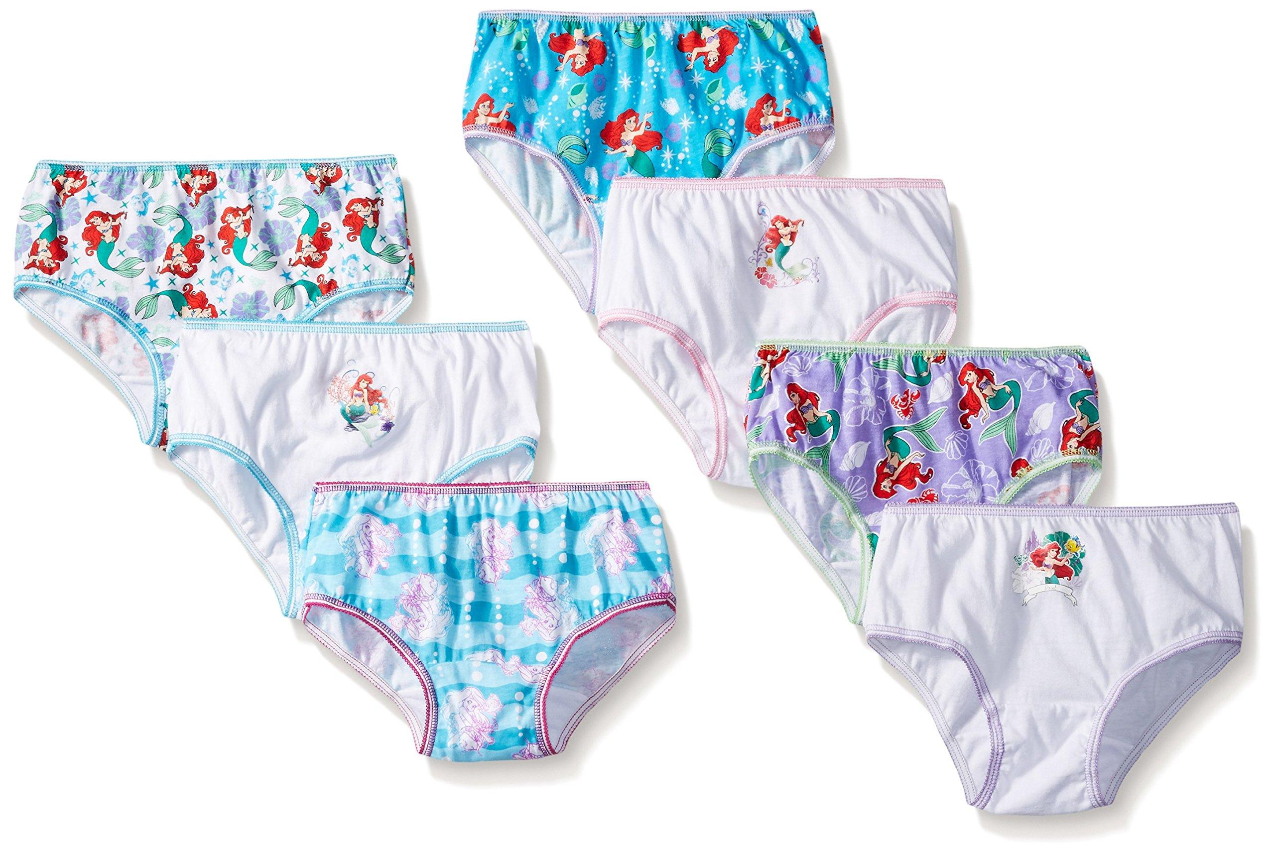 Disney Big Girls Ariel 7 Piece Pack Panty, Assorted, 6