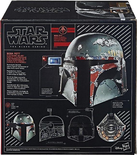 Hasbro Casco Boba Fett Replica Star Wars con Leggero indossabile Serie Nera in PVC 27,5x33x26,5 cm