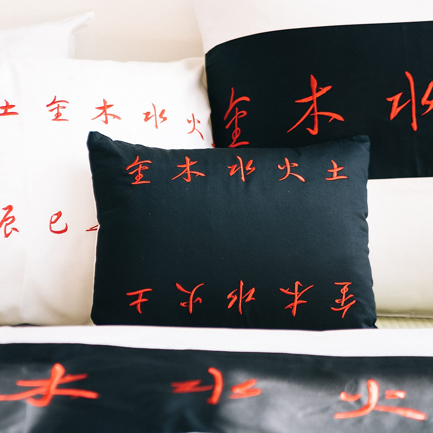 Black and red striped decorative pillow slip sham, small pillowcase 12'x16'. Asian inspired decorative contemporary fashionable, artsy design with Chinese embroidered calligraphy poem orientsense COMINHKR050323