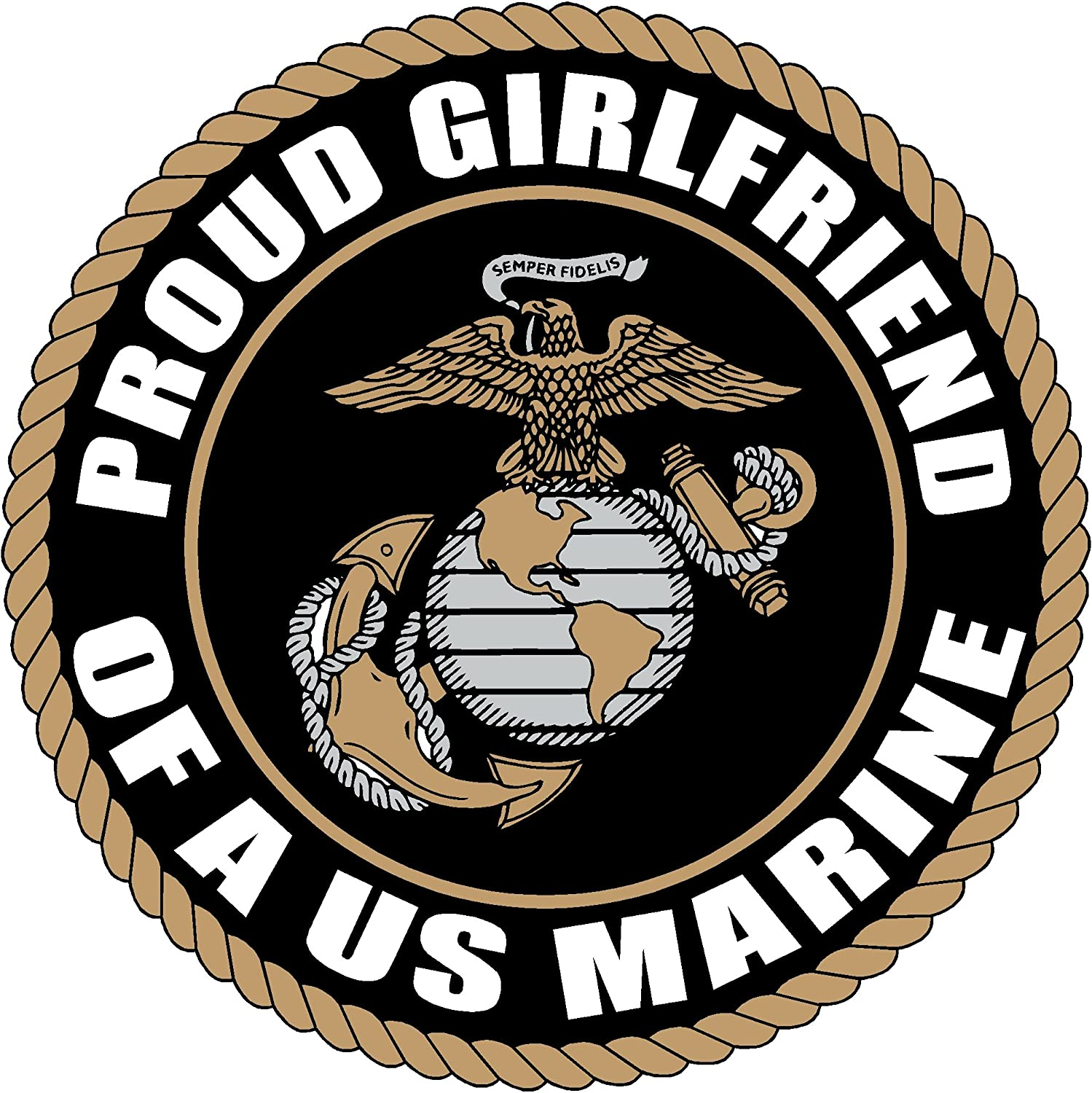 PROUD GIRLFRIEND US MARINE CORPS ARMY DECAL STICKER 5 BLACK