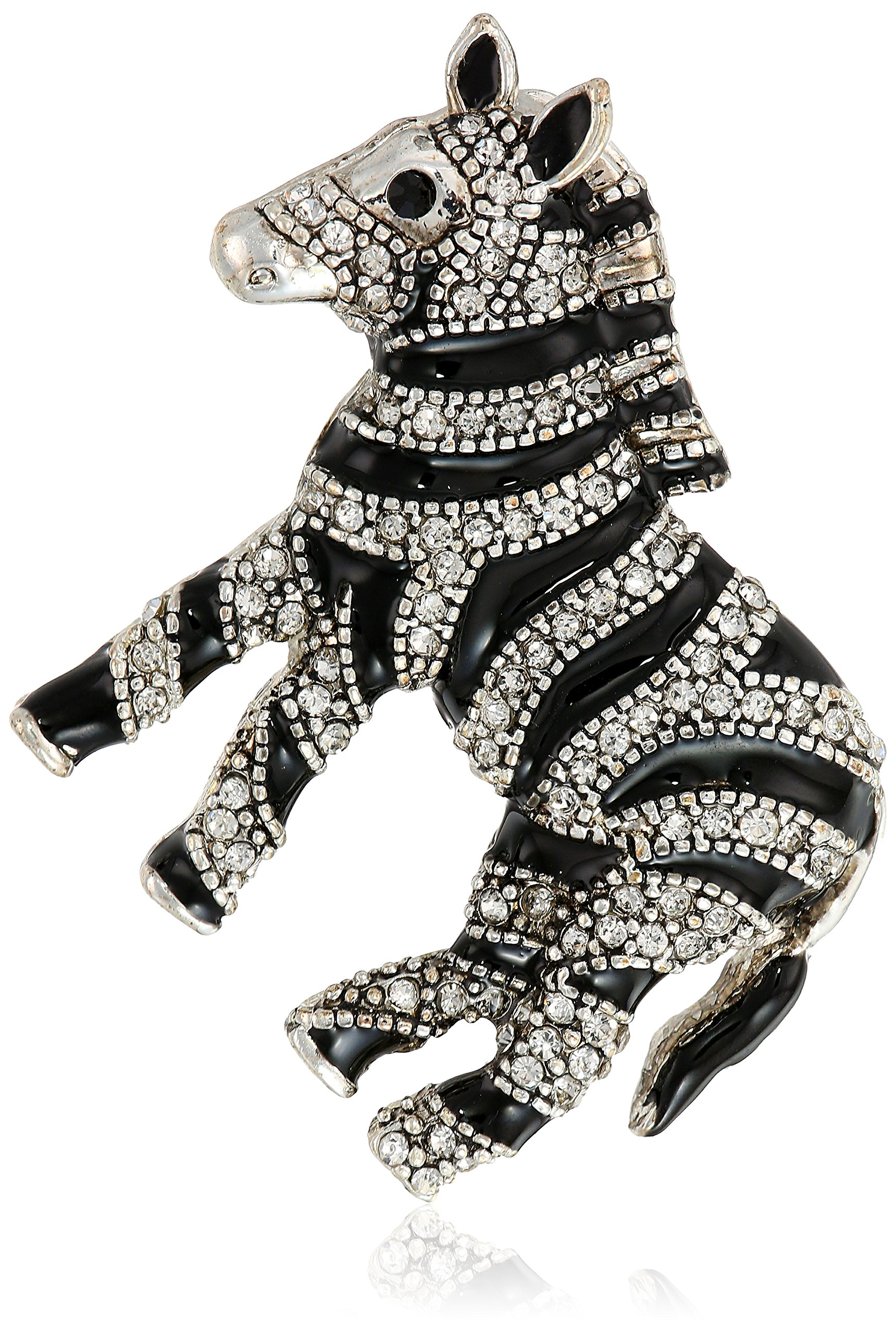 Napier Women's Crystal And Jet Zebra Brooches And Pin