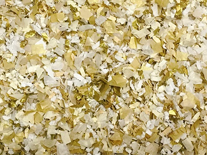 Amazon Com White Ivory Gold Confetti Mix Biodegradable Wedding