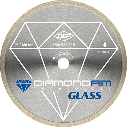 Review QEP 6-7006GLQ 7-Inch Continuous Rim Glass Tile Diamond Blade, 7mm Rim Height, 5/8-Inch Arbor, Wet Cutting, 8730 Max RPM