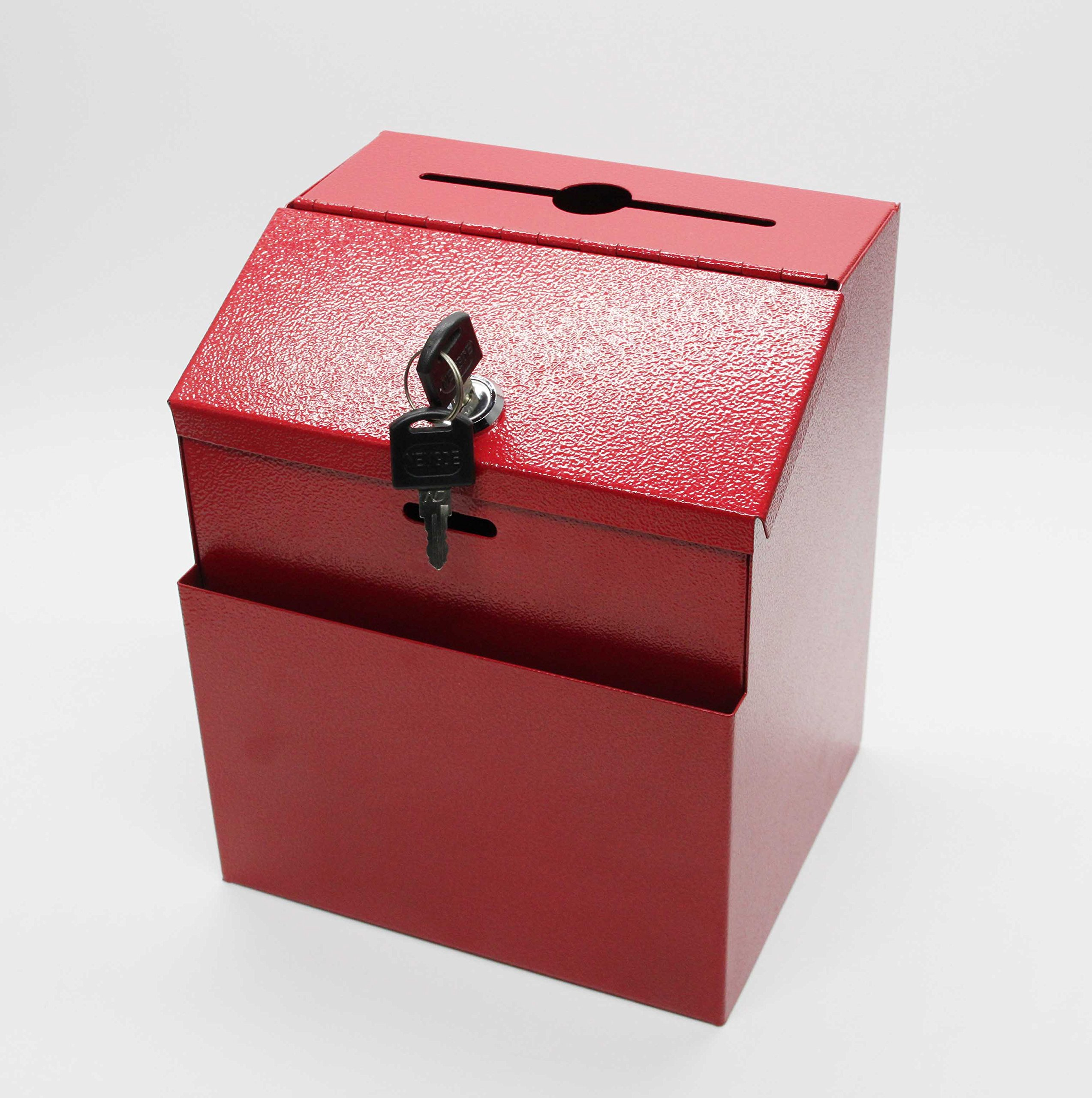 FixtureDisplays Metal Donation Suggestion Key Drop Box Express Checkout Comments sales lead box 11118-RED