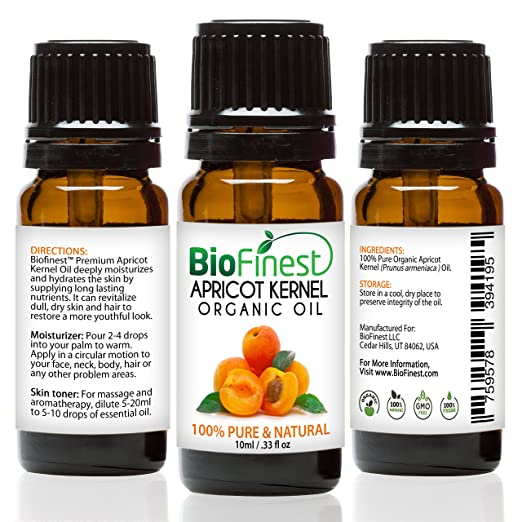 BioFinest Apricot Kernel Organic Oil - 100% Pure Cold-Pressed - Best Moisturizer For Hair Face Skin Acne Sunburn Cuts Wrinkle Scars Eczema - Essential Antioxidant, Vitamin E - FREE E-Book (10ml)