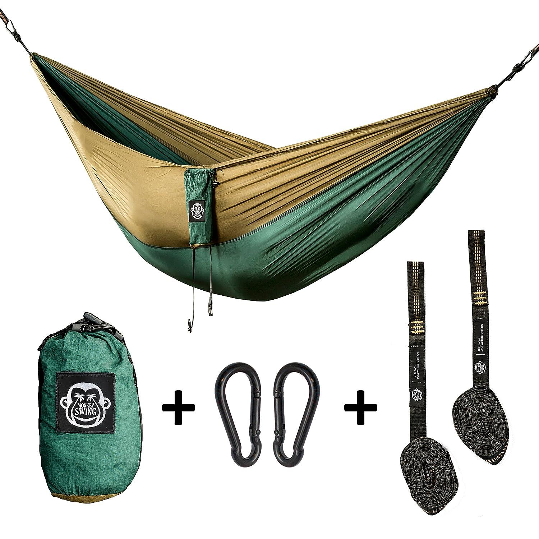 Monkey Swing amaca leggera 275x140CM I completo set per appendere e fissaggio I 2x moschetto, 2x cinture I Outdoor, camping, giardino, viaggio, spiaggia, foresta