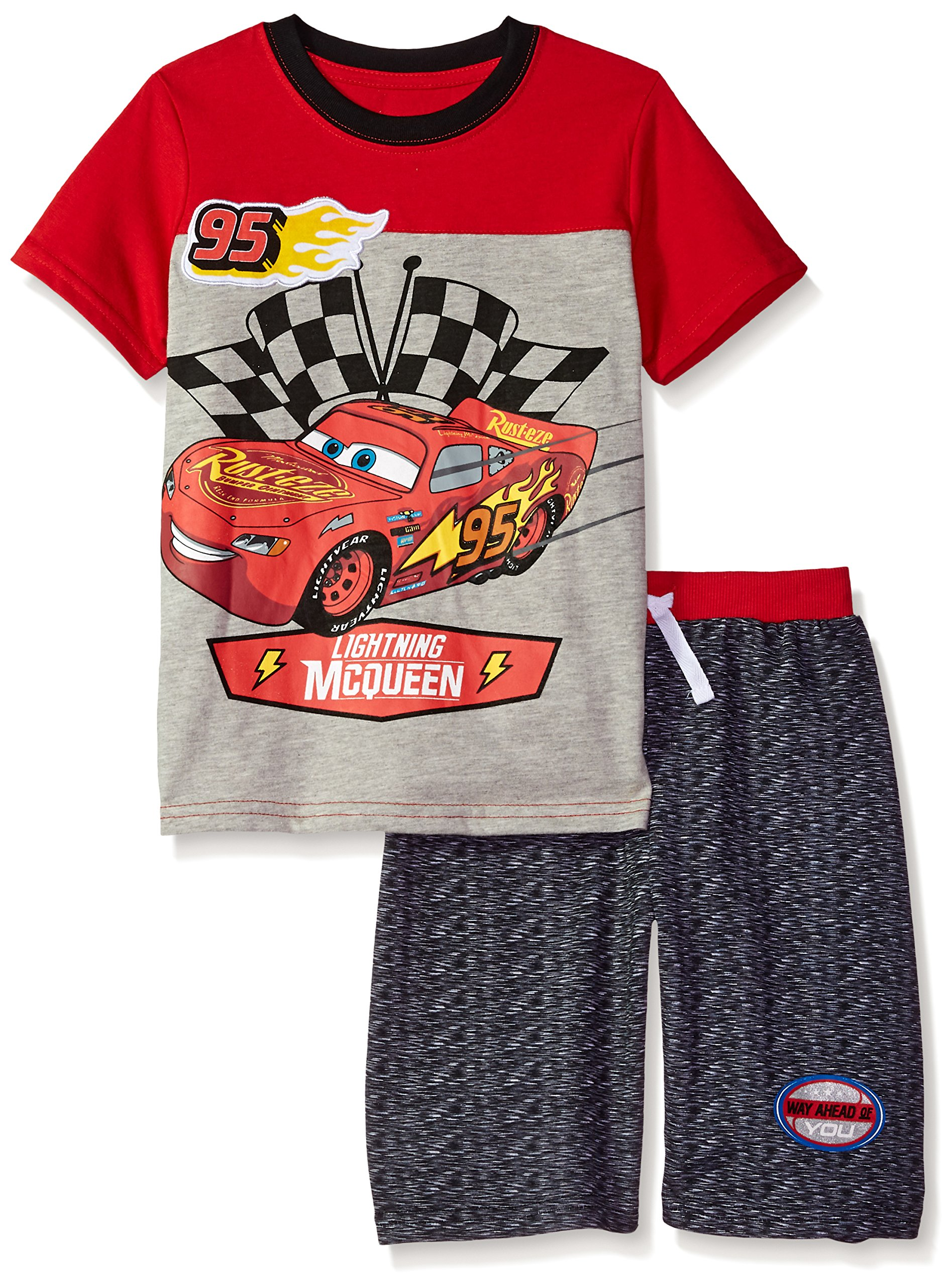 Disney Little Boys' Cars Crew Neck Short Set, Red, 4