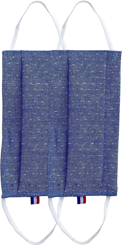 Avec Barrette Nasale Made in France Protection Visage Tissu Lavable 100/% Coton Popeline Avec Sac Hygi/énique R/éutilisable Normes AFNOR Deux Pi/èces Imprim/é Pointill/és Mouchet/és Bleu et Blanc