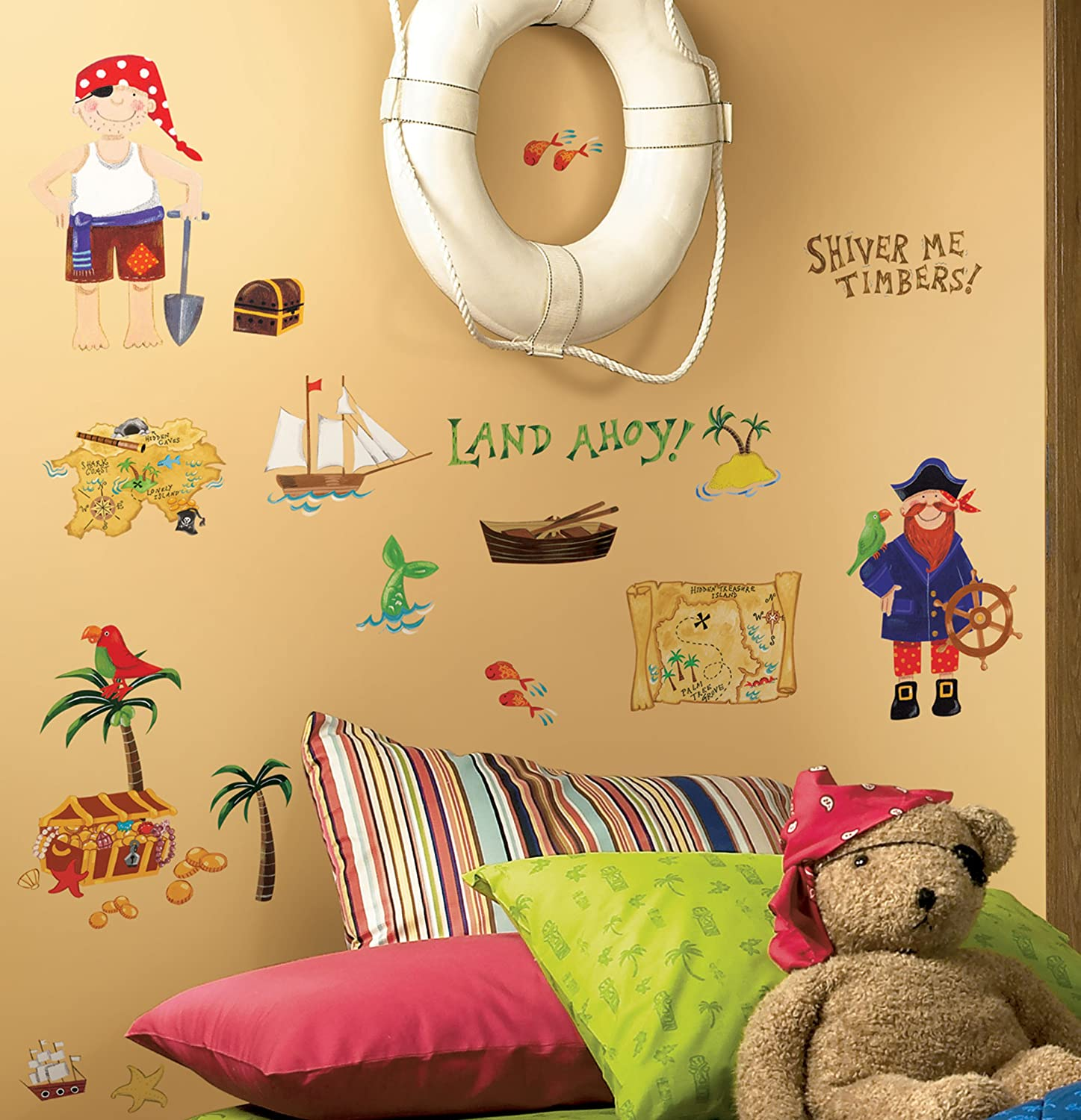 Kids room wall decor stickers - Roommates Rmk1195scs Treasure Hunt Peel Stick Wall Decals Wall Decor Stickers Amazon Com