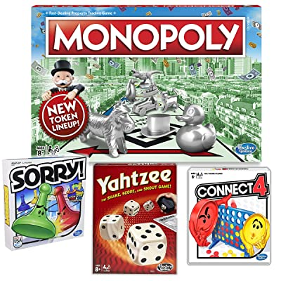 Monopoly, Sorry!, Yahtzee, & Connect 4 - Ultimate Classic 4 Game Bundle: Toys & Games
