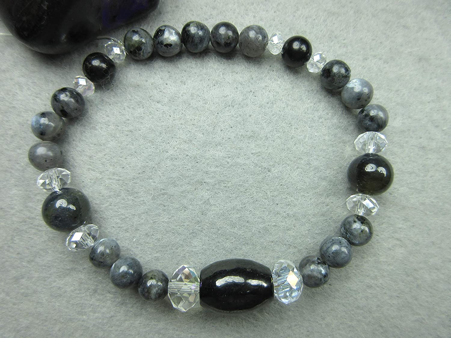 Genuine Shungite, Iolite and Larvikite Healing Bracelet Protection Intuition