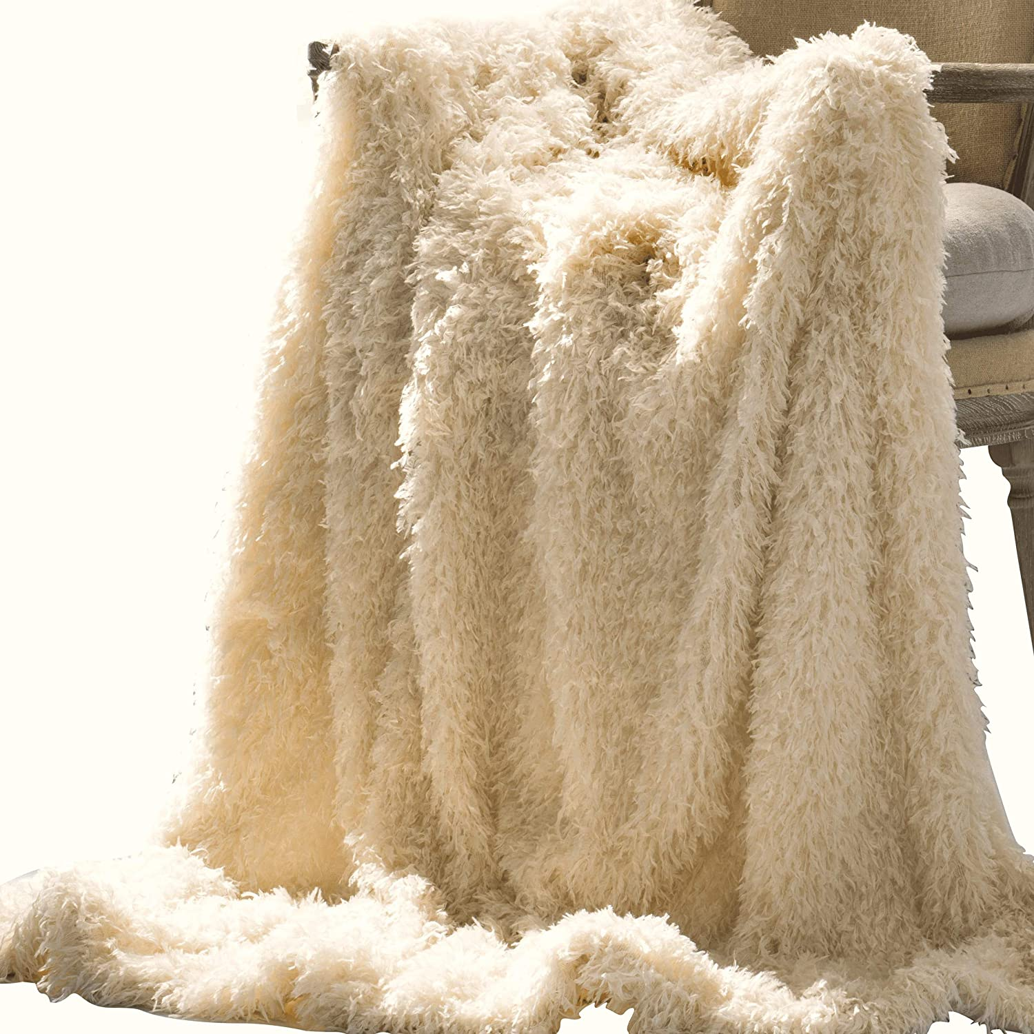 ANVI HOME Furry Throw Blanket   Snuggly Long Fur Lightweight Warm Elegant Cozy Plush Microfiber Blanket   for Couch Bed Chair Photo Props - 50x60 Inches - Cream