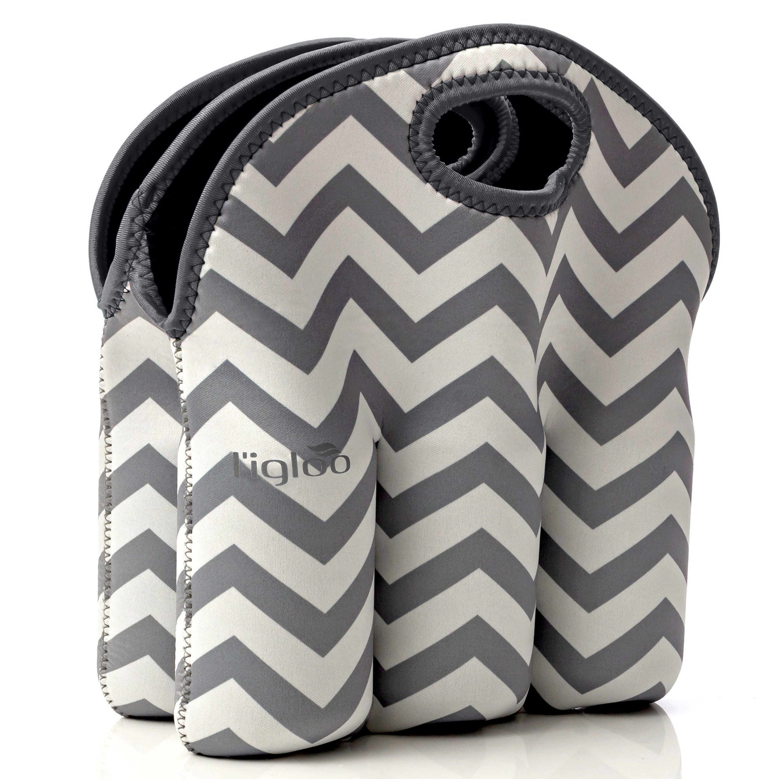 Neoprene 6 Pack Bottle Carrier, Extra Thick Insulated Baby Bottle Cooler Bag Keeps Baby Bottles Cold or Warm Great as Baby Shower Gift (Gray Chevron Gray Trim)