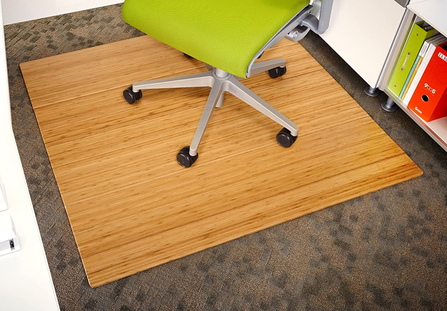 "Anji Mountain AMB24034 Roll-up Wooden Chairmat, 42"" x 48"", Natural"
