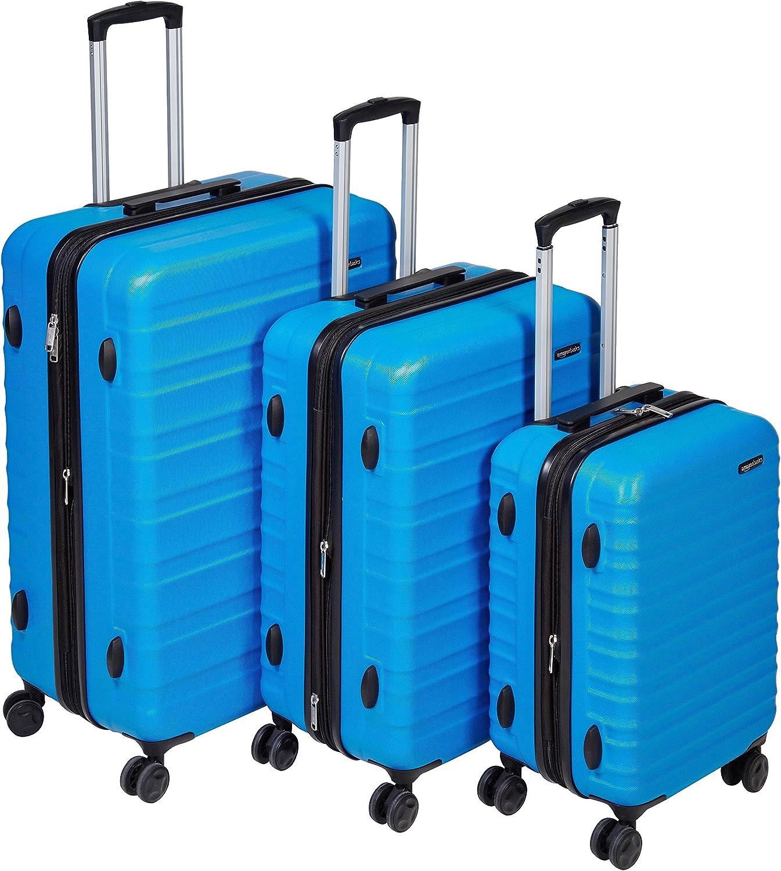 AmazonBasics -  Maleta de viaje rígidaa giratoria - Juego de 3 piezas ( 55 cm, 68 cm, 78 cm), Azul claro