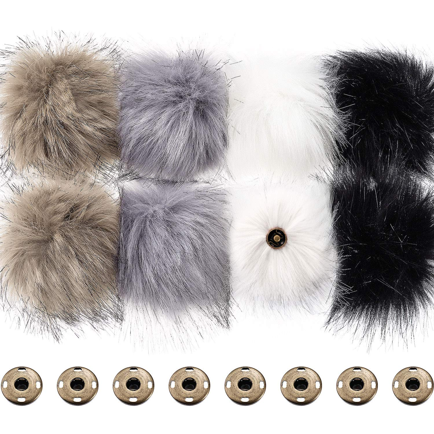 12Pcs DIY Faux Fox Fur Fluffy Pompom Ball,Mixed Color Faux Fox Fur Pompoms Ball with Snap Button for Knitting Garments Hat Accessories 3.9 Inches