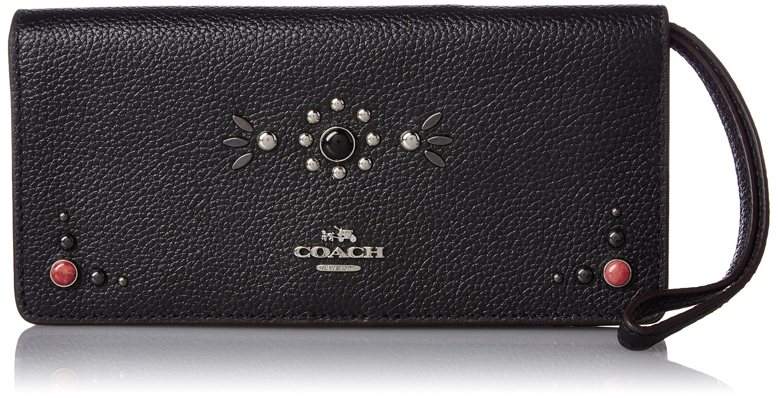 COACH Women's Western Rivets Slim Wallet SV/Black Wallets