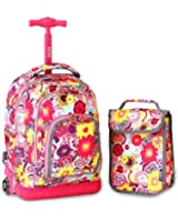J World New York Lollipop Kids' Rolling Backpack with Lunch Bag, Poppy Pansy 2 Piece