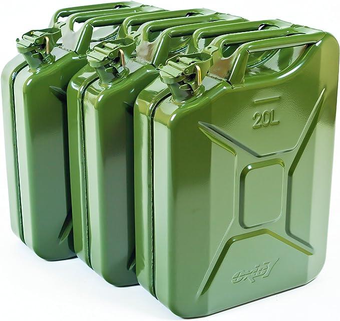 Oxid7 3x Benzinkanister Kraftstoffkanister Metall 20 Liter Olivgrün Mit Un Zulassung TÜv Rheinland Zertifiziert Bauart Geprüft Auto