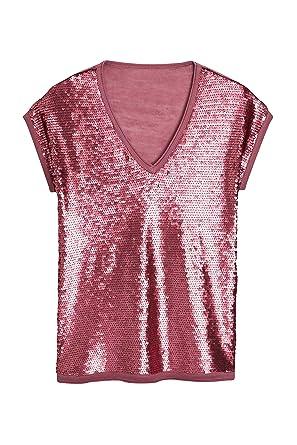 c7259d0fd2163 next Mujer Camiseta De Cuello Pico con Lentejuelas Rosa EU 50 (UK 22 ...
