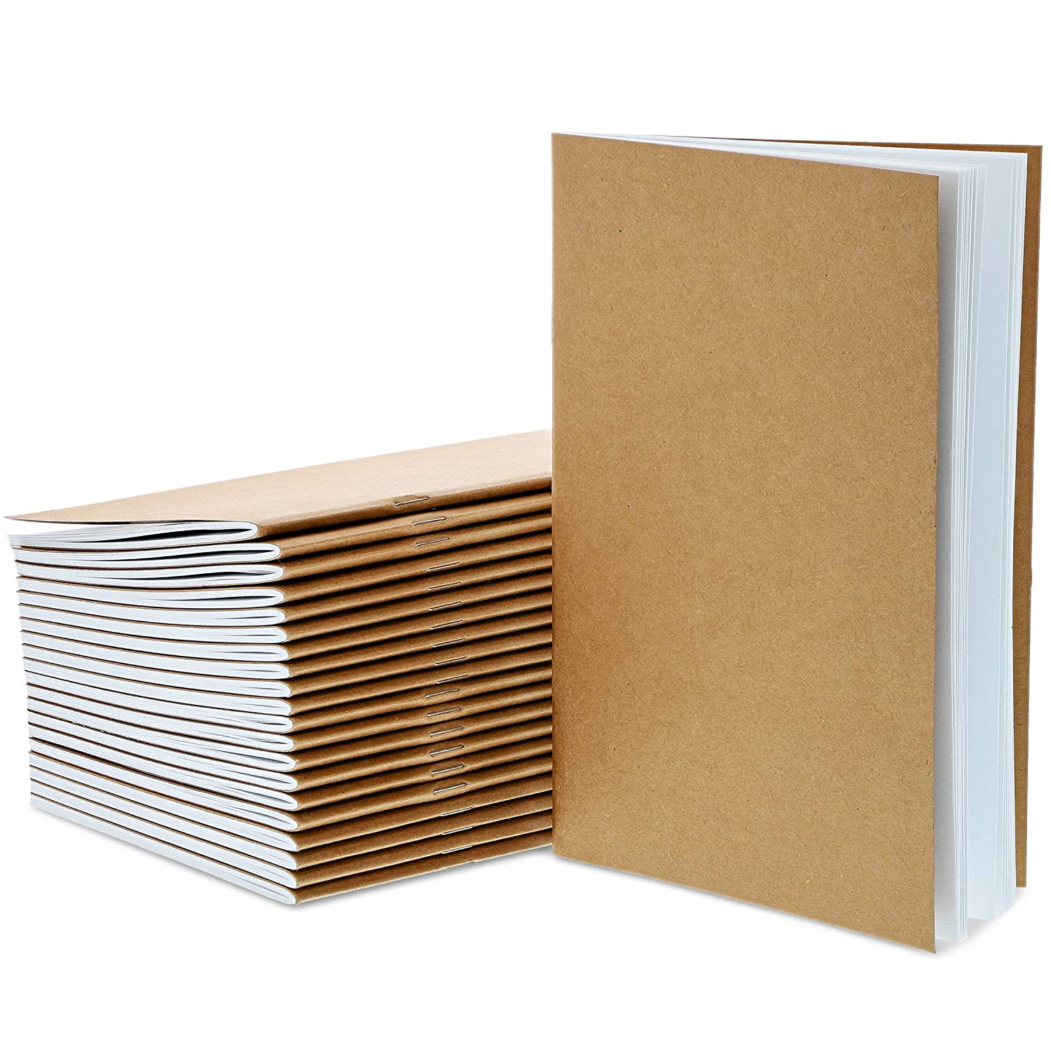 Brown Unruled Plain Travel Journals for Students Class Projects 5.5 x 8.5 Inches 24-Pack Unlined Blank Books Childrens Writing Books Half Letter Sized School 24 Sheets Each Kraft Notebook