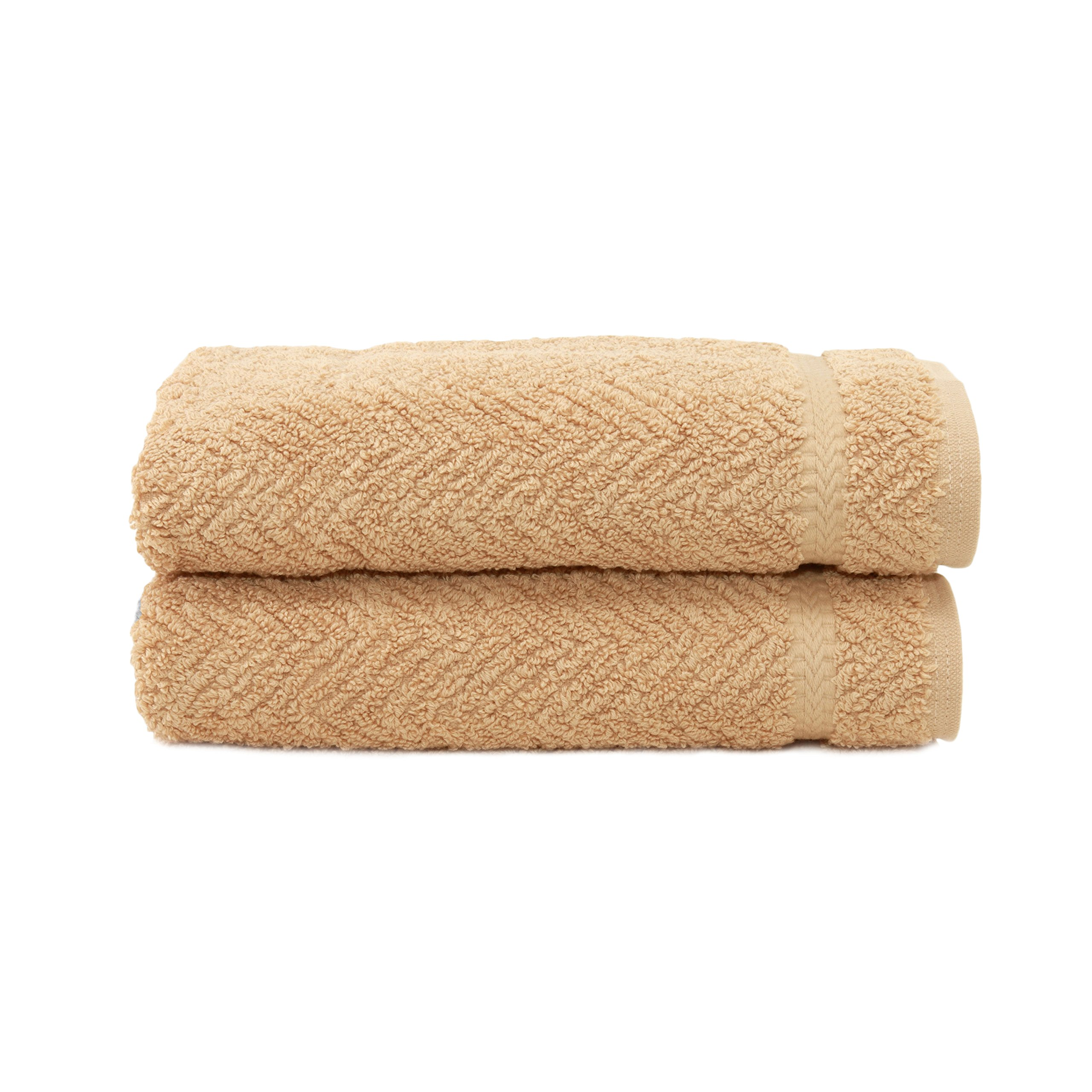 Linum Home Textiles 100% Turkish Cotton Herringbone Hand Towels, Warm Sand, 2 Piece