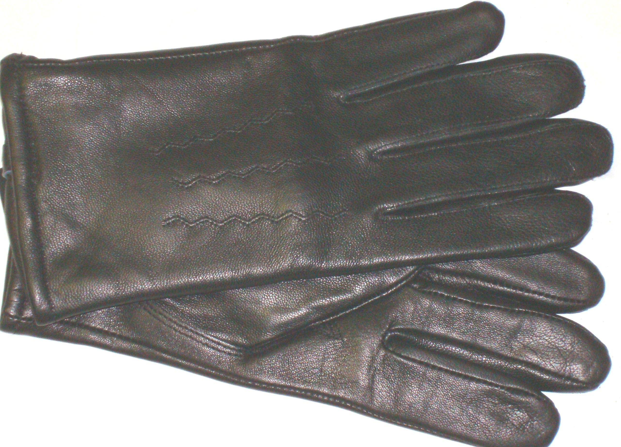 Imported Genuine Black Leather Microfiber Lined Men's Gloves Size Medium