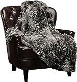 """Chanasya Super Soft Shaggy Fuzzy Fur Fluffy Faux Fur Warm Elegant Cozy with Sherpa Color Variation Pattern Print Dark Gray Throw Blanket (50"""" x 65"""") -Charcoal"""