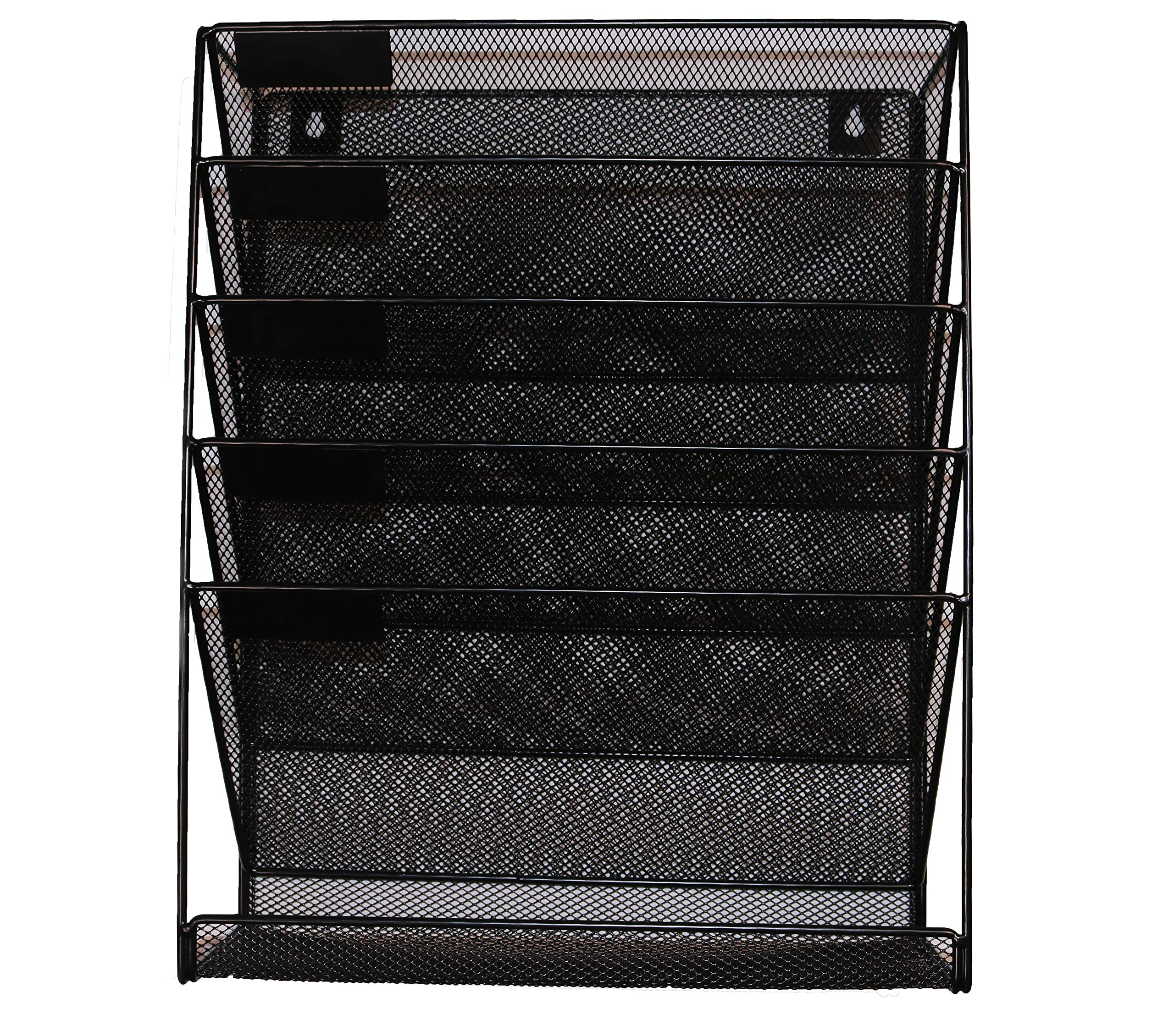Hanging Wall File Organizer, Black Metal Mesh 5 Slot Wall Mounted Document Holder Rack for Office Home