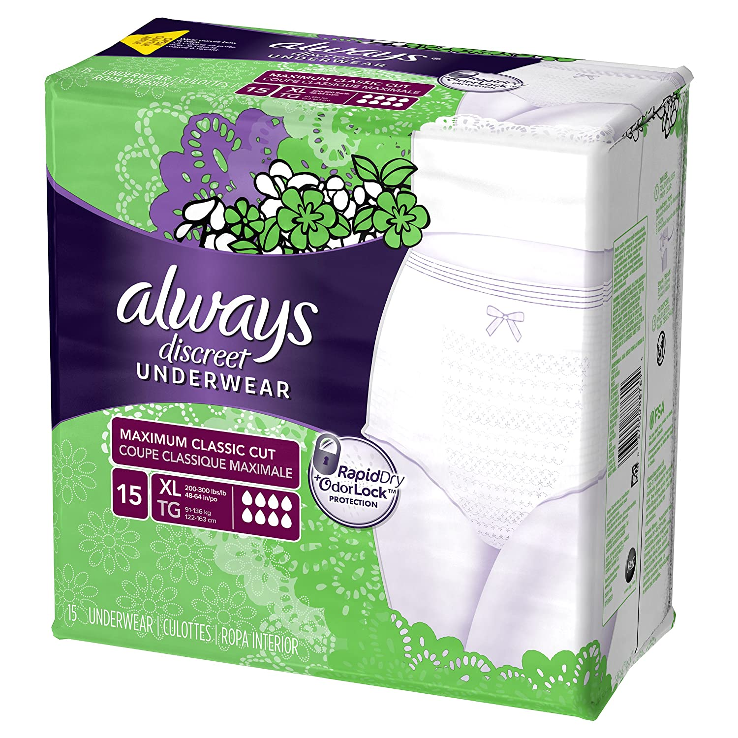 Amazon.com: Always Discreet, Incontinence Underwear for Women, Maximum Classic Cut, Extra-Large, 15 Count: Health & Personal Care
