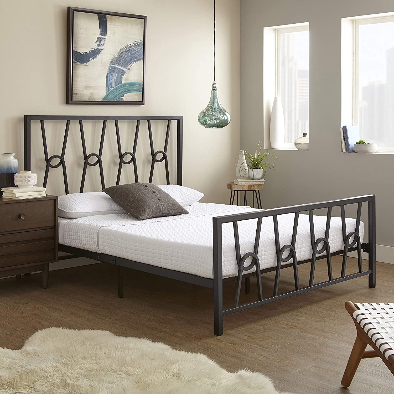 Boyd Sleep Pierre Metal Platform Bed Frame/Mattress Foundation with Headboard and Footboard, Queen