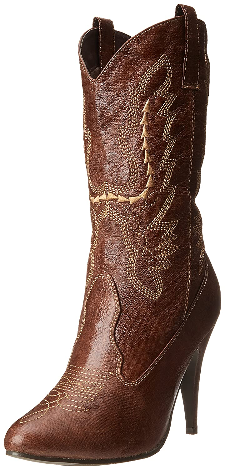 Women's Brown Western Faux Leather Embroidered Boot - DeluxeAdultCostumes.com