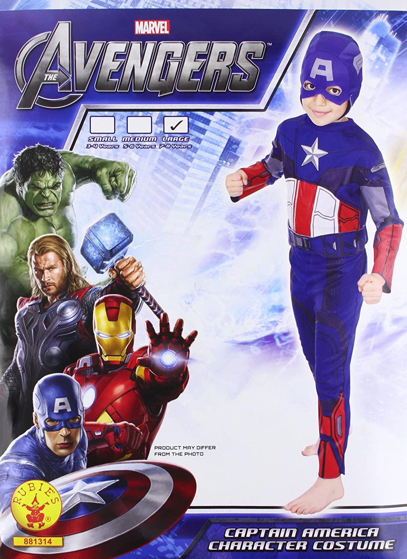 Rubies`s - Disfraz infantil de Capitán America clásico (881314-L)