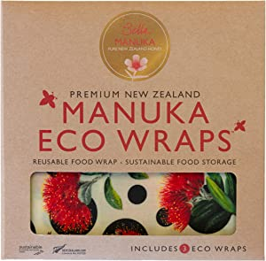 Bella Honey Manuka Eco Bees Wrap Assorted 3 Pack, Reusable Beeswax Food Wraps, Plastic Free Alternative for Food Storage, Sustainable, Zero Waste, 1 Small, 1 Medium, 1 Large (Pohutukawa Flowers)