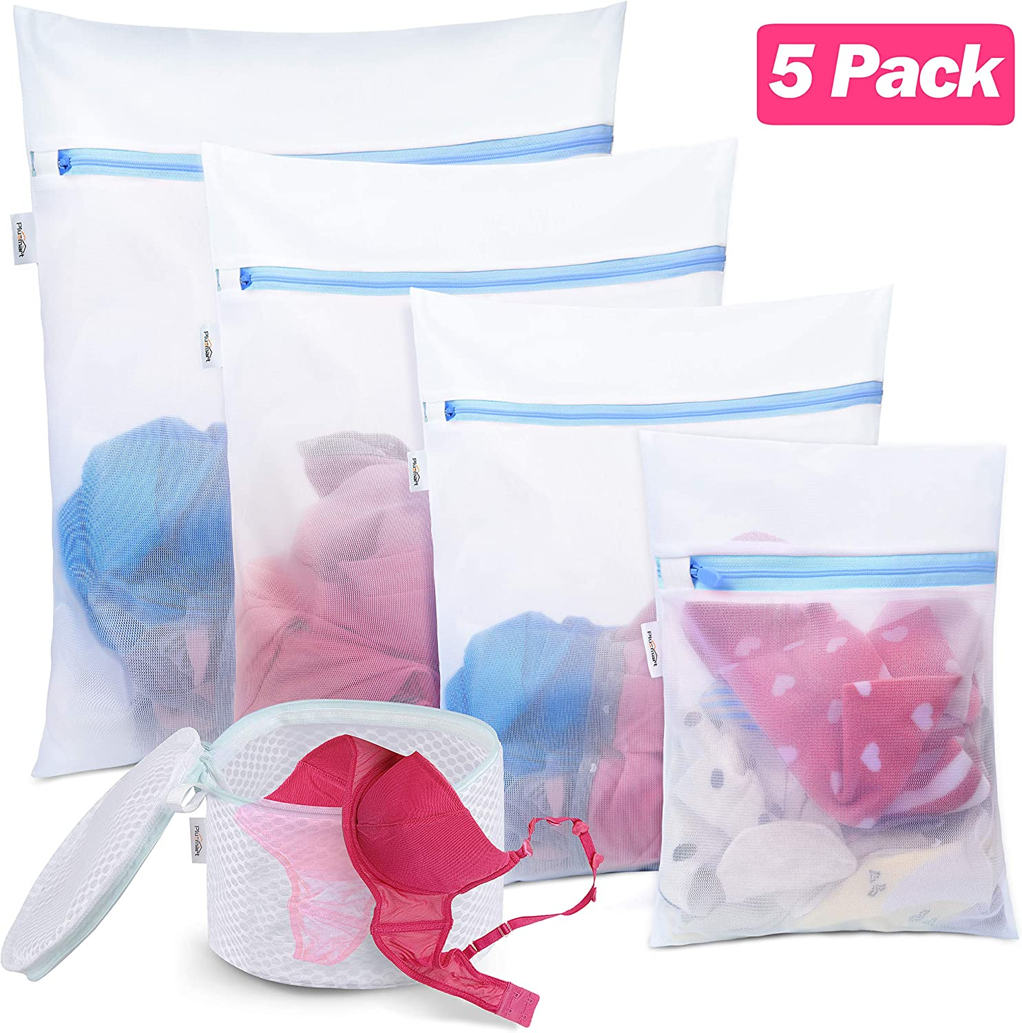 Plusmart 5 Pack Mesh Laundry Bags for delicates, Bra Lingerie Wash Bags, Zipper Travel Laundry Bag