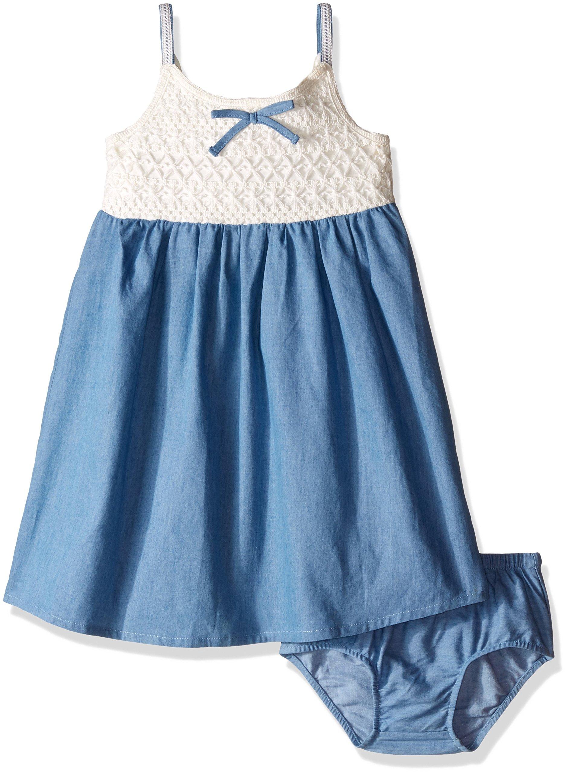 Lucky Brand Little Girls' Toddler Crochet Bodice Dress, Bleach Wash, 3T