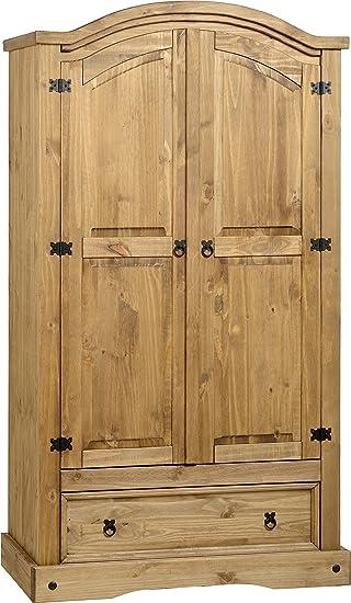big sale 82aea bd9b5 Seconique Corona 2 Door 1 Drawer Wardrobe, Distressed Waxed Pine,  539.95x1784.95x84.95 cm