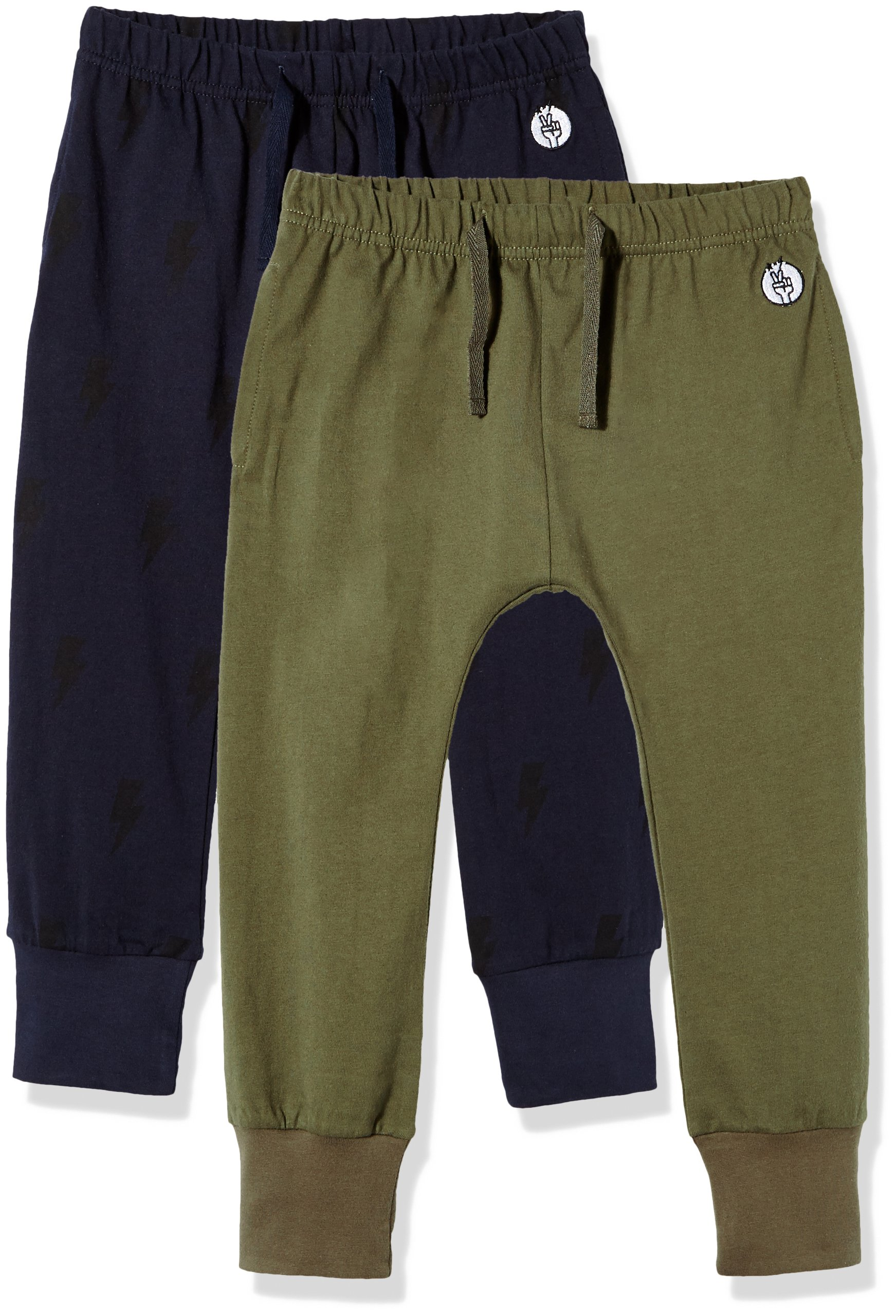 Kid Nation Kids' 2 Pack Cotton Beach Pant for Boys or Girls XS Olive + Grey Blue by Kid Nation (Image #1)