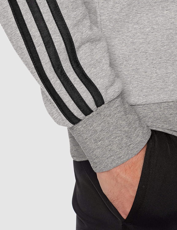 adidas Herren E 3s Crew Ft Sweatshirt Medium Grey Heather/Black