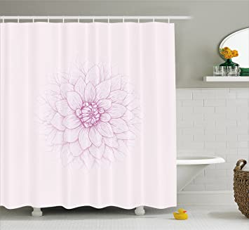 Dahlia Shower Curtain By Ambesonne Ghastly Appearing Flower Close Up Sketch In Pale