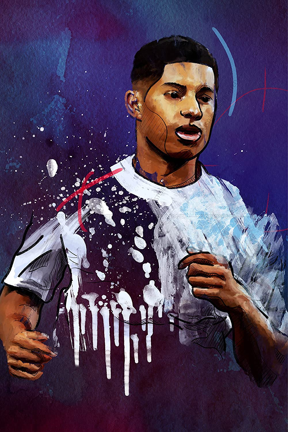 Postere Marcus Rashford Poster Fanart Painting Styled Manchester United 12 X 18 Inches English Professional Footballer England National Team Number 19 Amazon In Home Kitchen