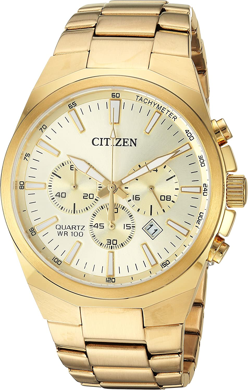 Citizen Men s Quartz Stainless Steel Casual Watch, Color Gold-Toned Model AN8172-53P
