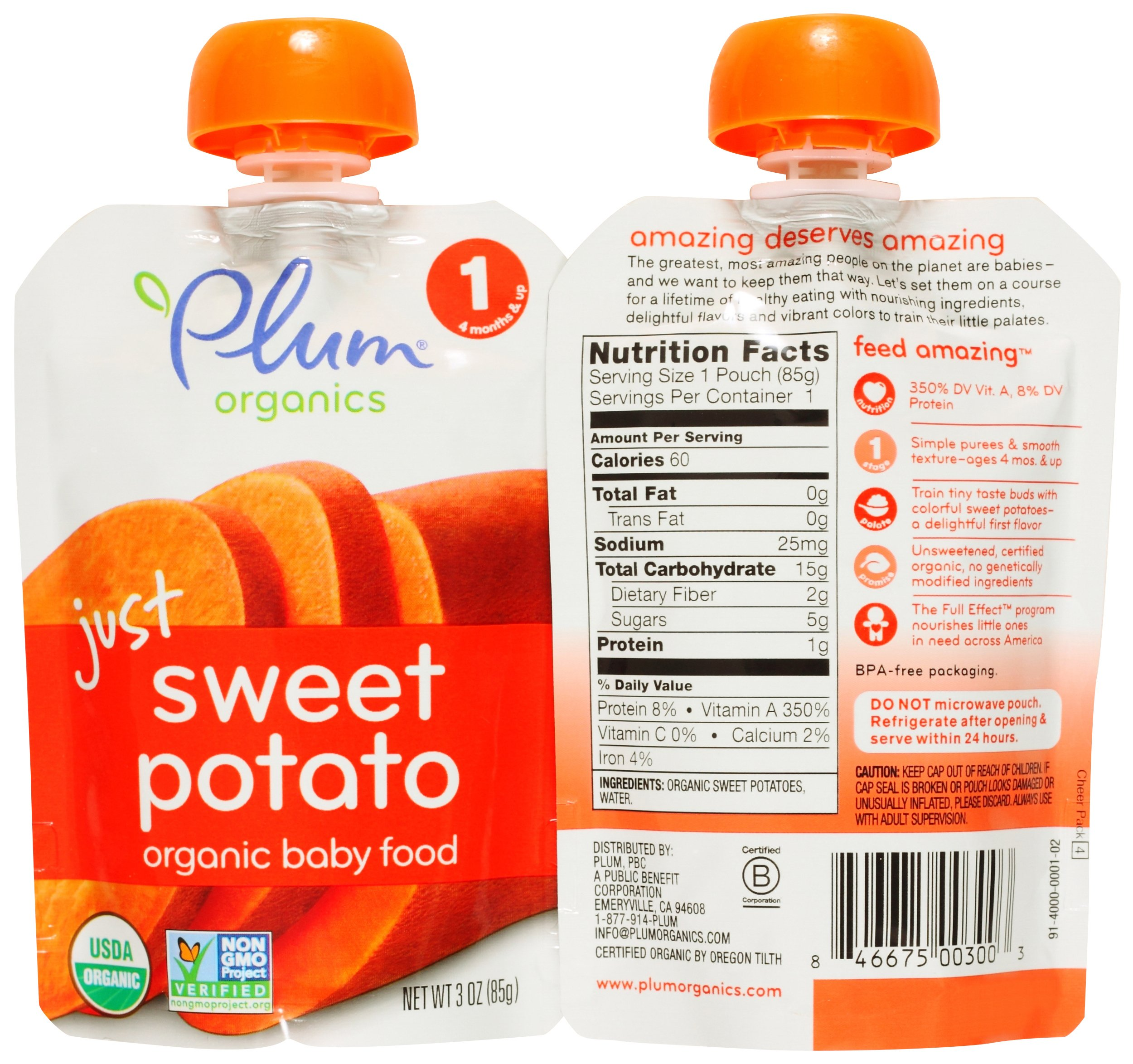 Plum Organics Stage 1 Just Fruit & Veggies Variety Pouch Bundle: (2) Just Prunes 3.5oz, (2) Just Mangos 3.5oz, (2) Just Sweet Potato 3oz, and (2) Just Peaches 3.5oz (8 Pack Total) by Plum Organics (Image #4)
