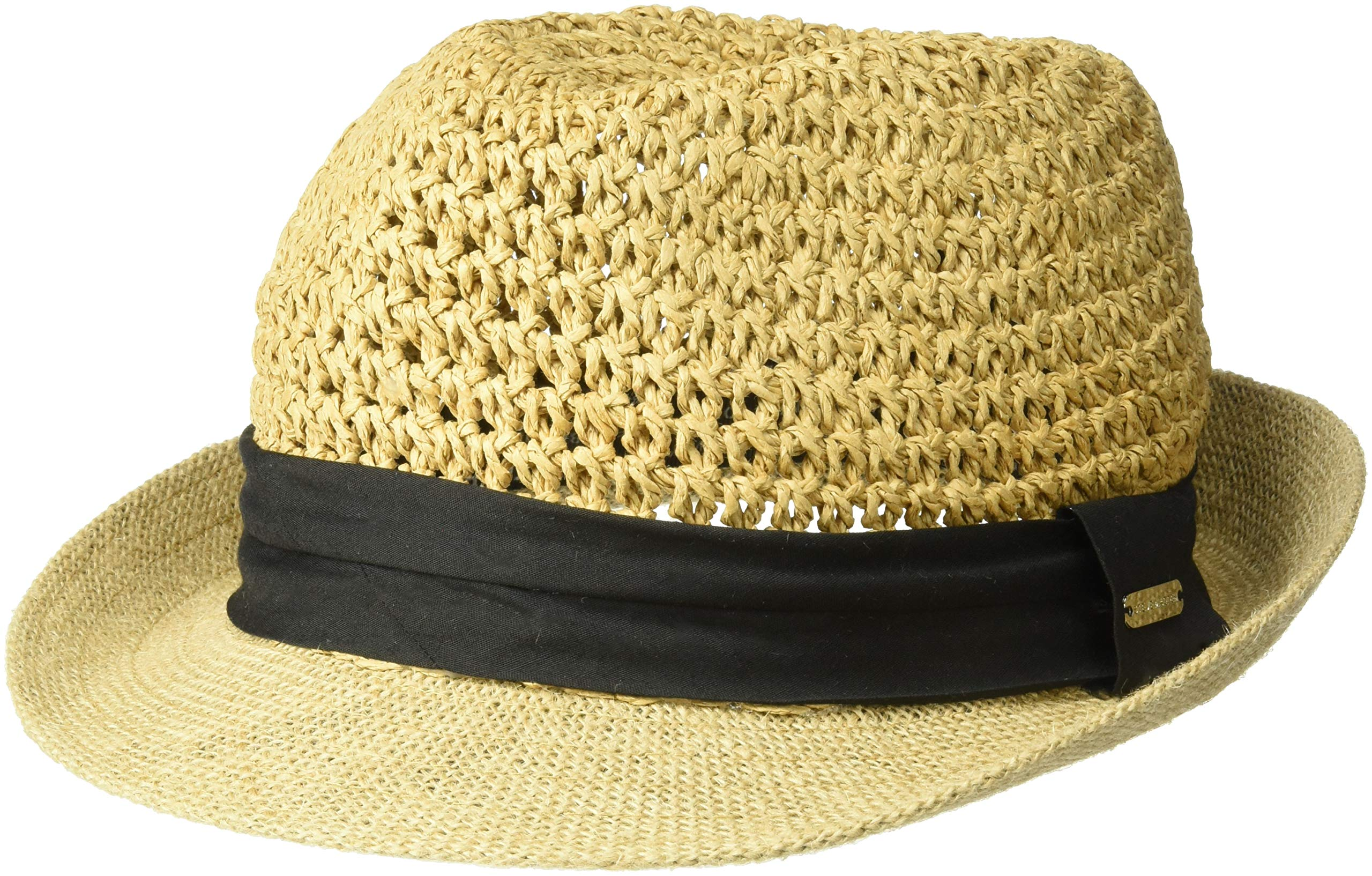 Steve Madden Women's Paper Crochet Straw Fedora with Woven Band, Black One Size
