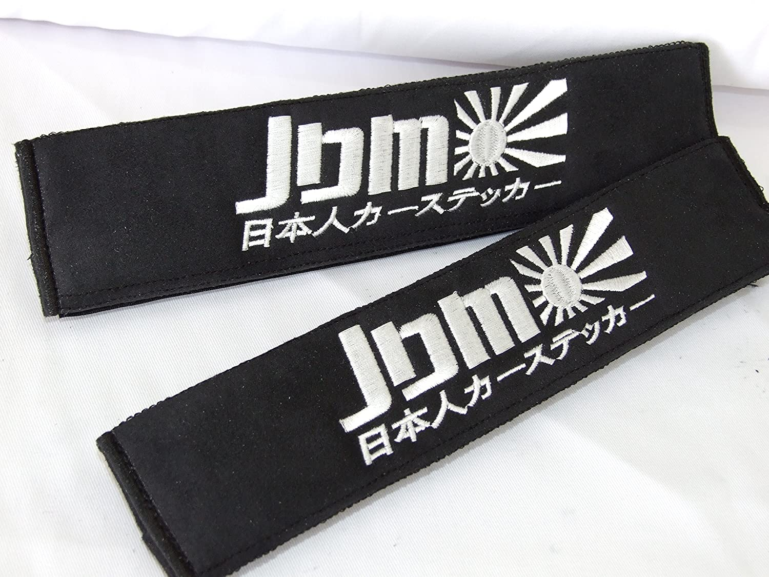 ONEKOOL JDM style Black Faux Suede Fabric Seat Belt Shoulder Pads