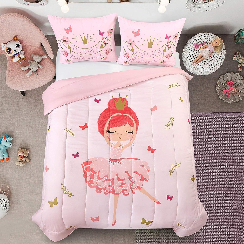 Heritage Kids Prima Ballerina All Season Machine Washable Alternative Pink Ultra Soft Lightweight Microfiber Comforter Set, Full