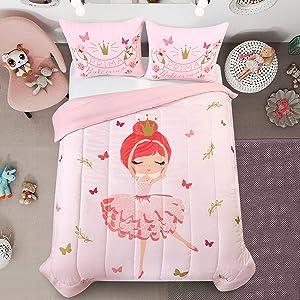 Heritage Kids Prima Ballerina All Season Machine Washable Alternative Pink Ultra Soft Lightweight Microfiber Comforter Set, Twin,