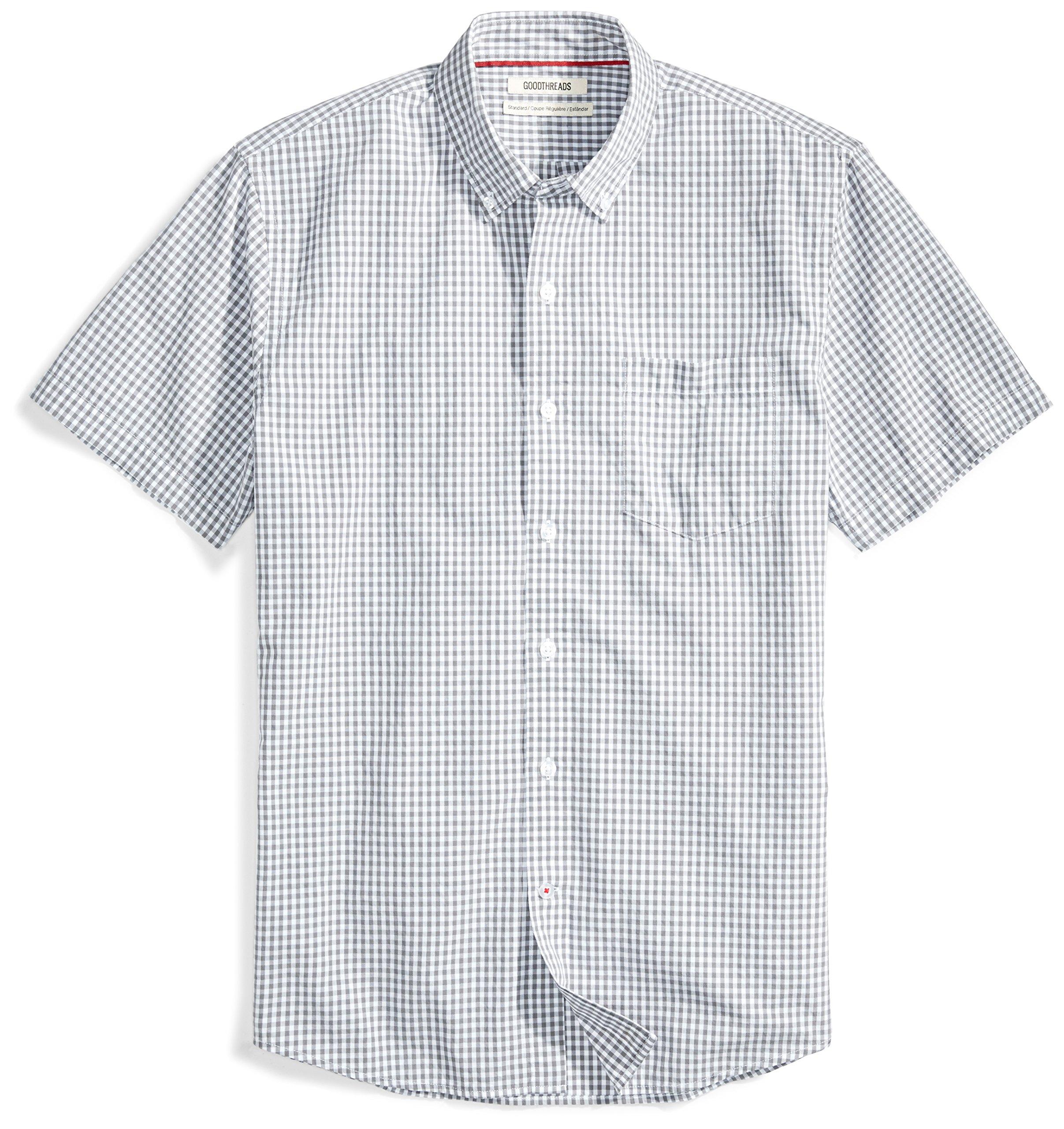 Goodthreads Men's Standard-Fit Short-Sleeve Two-Color Check Shirt, White/Grey, Medium