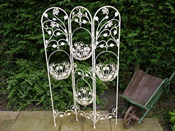 Antique White Wrought Iron Plant Display Screen Stand
