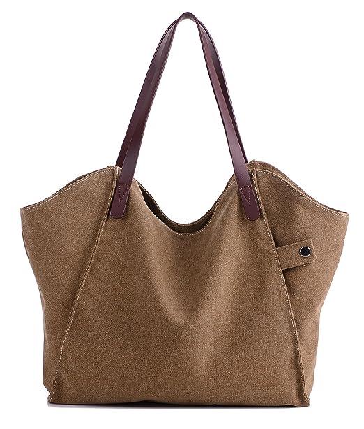 9d92fa38db Women s Canvas Shoulder Bag Weekend Shopping Big Bag Tote Handbag Work Bag  (Brown)
